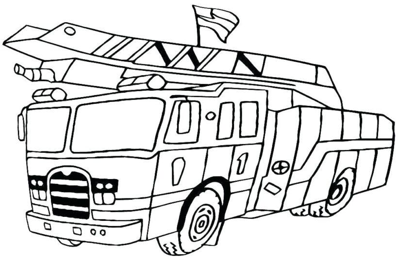Hình vẽ chưa tô màu xe cứu hoả cho bé tập tô (6)