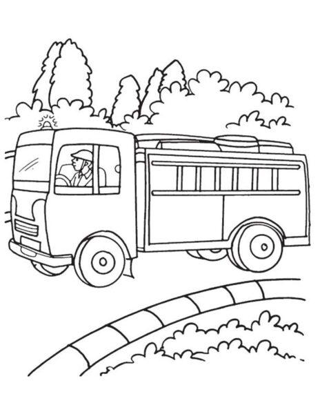 Hình vẽ chưa tô màu xe cứu hoả cho bé tập tô (7)