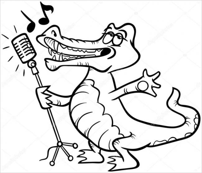 Hình vẽ đen trắng cá sấu cho bé tô màu (1)