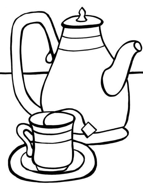 Hình vẽ đen trắng cái ly đẹp cho bé tô màu (1)