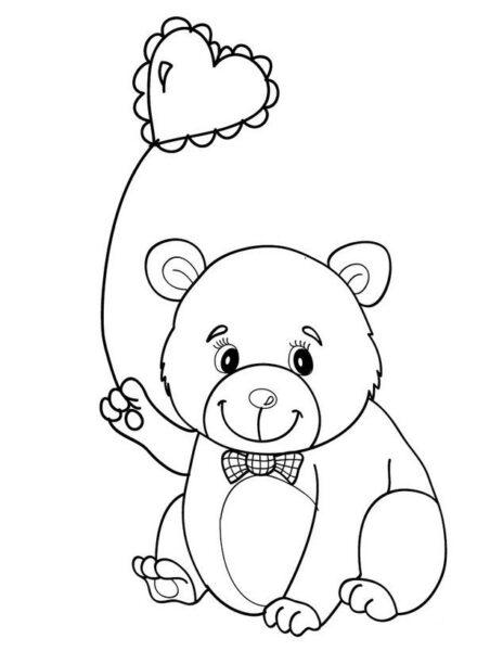 Hình vẽ đen trắng con gấu ngộ nghĩnh cho bé tô màu (2)