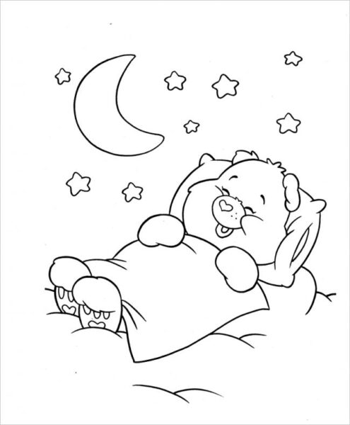 Hình vẽ đen trắng con gấu ngộ nghĩnh cho bé tô màu (4)