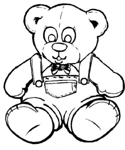 Hình vẽ đen trắng con gấu ngộ nghĩnh cho bé tô màu (6)