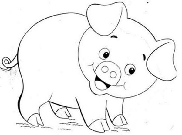 Hình vẽ đen trắng con heo cho bé tô màu (3)