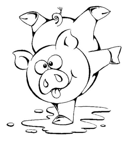 Hình vẽ đen trắng con heo cho bé tô màu (6)