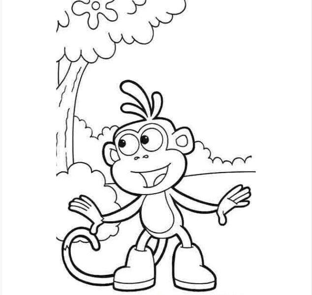 Hình vẽ đen trắng con khỉ cho bé tô màu (1)