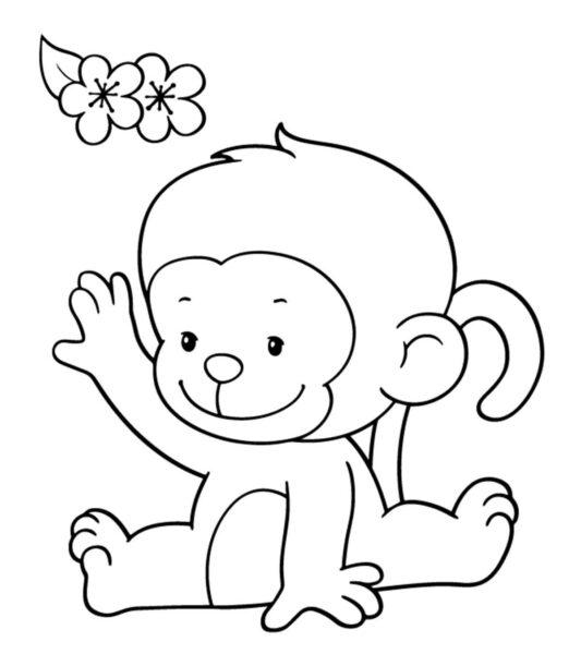 Hình vẽ đen trắng con khỉ cho bé tô màu (2)