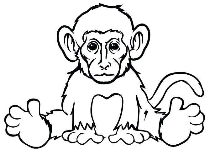 Hình vẽ đen trắng con khỉ cho bé tô màu (3)