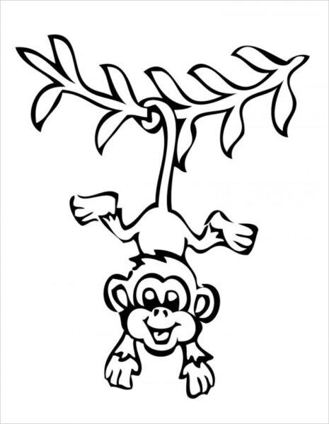 Hình vẽ đen trắng con khỉ cho bé tô màu (4)