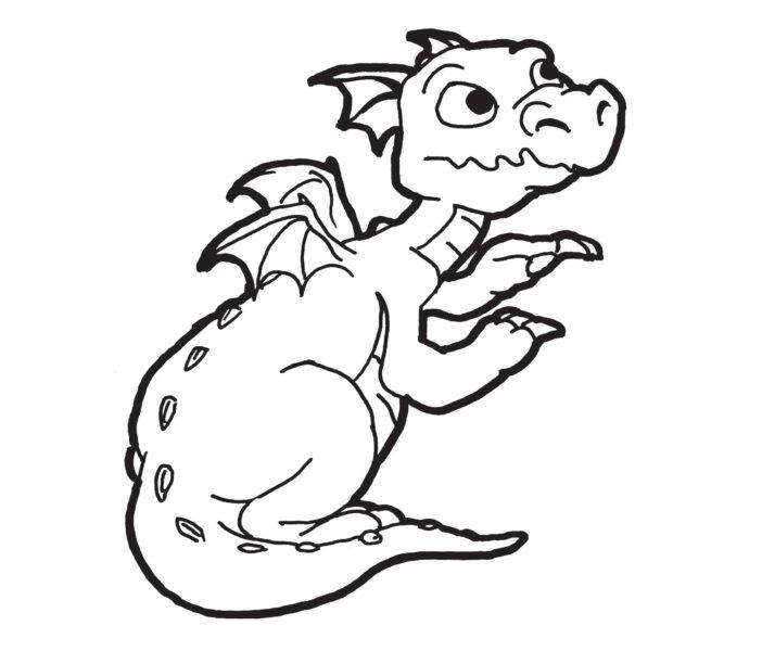 Hình vẽ đen trắng con rồng cho bé tô màu (1)