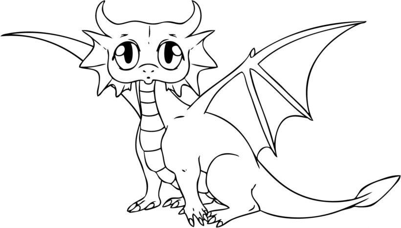 Hình vẽ đen trắng con rồng cho bé tô màu (2)