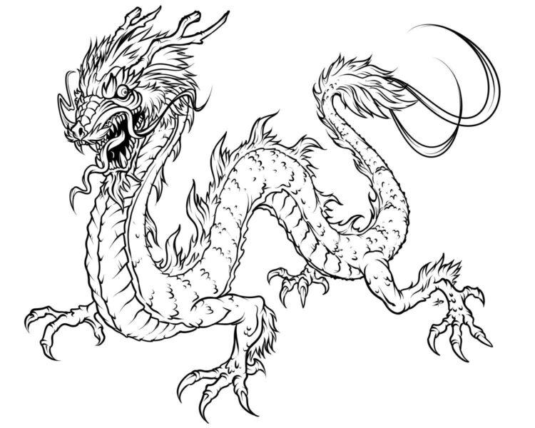 Hình vẽ đen trắng con rồng cho bé tô màu (3)