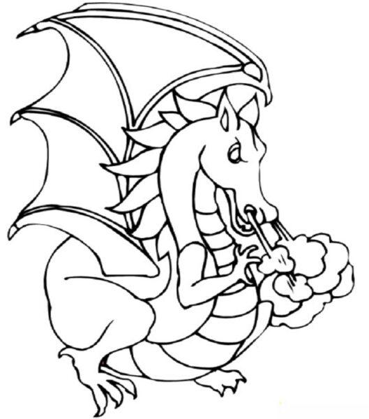 Hình vẽ đen trắng con rồng cho bé tô màu (4)