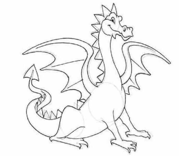 Hình vẽ đen trắng con rồng cho bé tô màu (5)