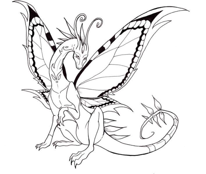 Hình vẽ đen trắng con rồng cho bé tô màu (6)