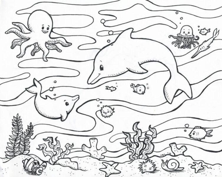 Hình vẽ đen trắng con vật chưa tô màu cho bé tập tô (6)