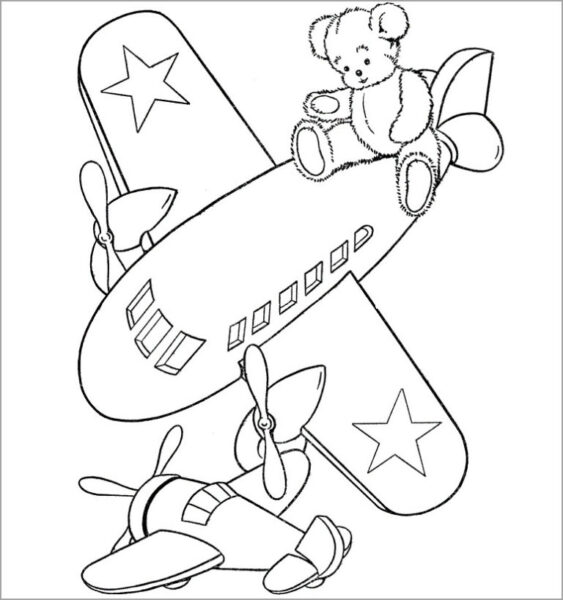 Hình vẽ đen trắng máy bay cho bé tô màu (1)