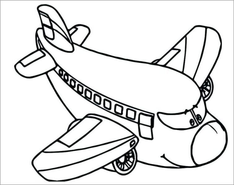 Hình vẽ đen trắng máy bay cho bé tô màu (2)