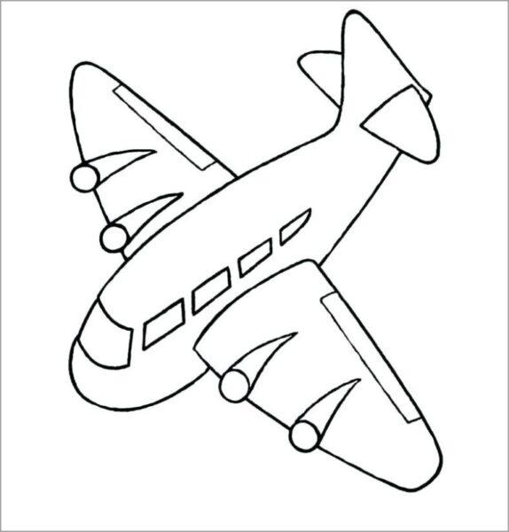 Hình vẽ đen trắng máy bay cho bé tô màu (3)