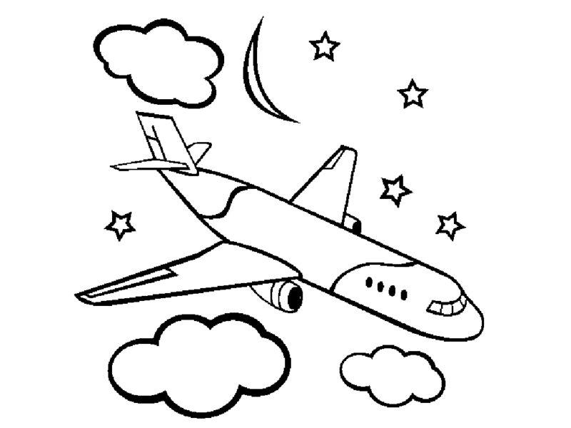 Hình vẽ đen trắng máy bay cho bé tô màu (4)
