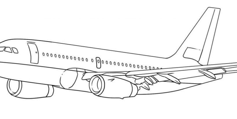 Hình vẽ đen trắng máy bay cho bé tô màu (5)