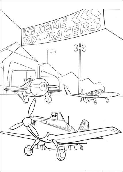 Hình vẽ đen trắng máy bay cho bé tô màu (7)