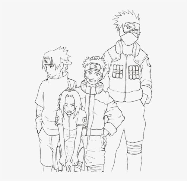 Hình vẽ đen trắng Naruto cho bé tô màu (2)