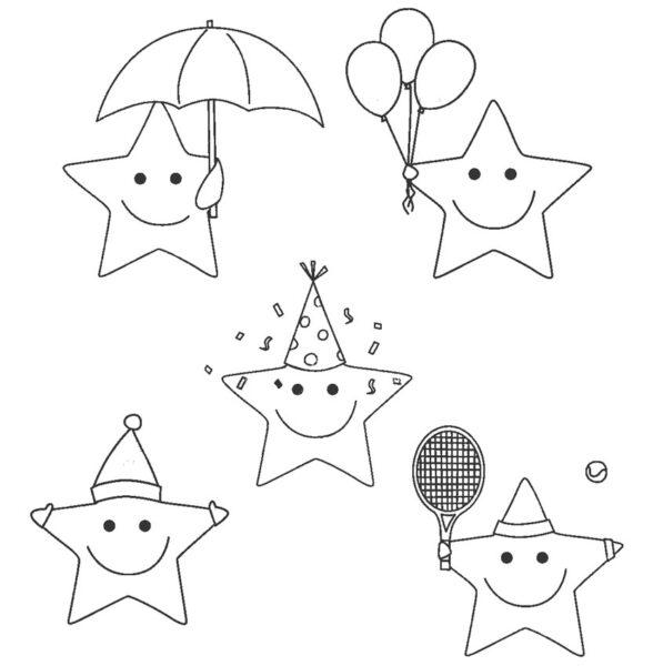 Hình vẽ đen trắng ngôi sao cho bé tập tô (2)