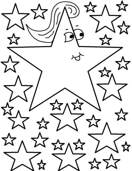Hình vẽ đen trắng ngôi sao cho bé tập tô (4)