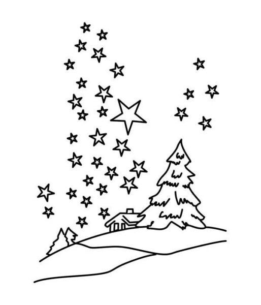 Hình vẽ đen trắng ngôi sao cho bé tập tô (5)