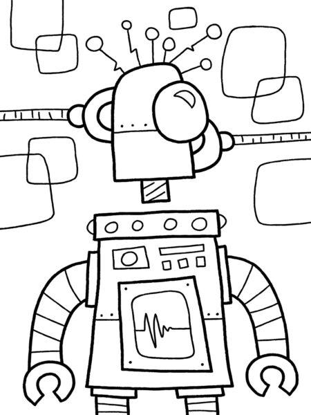 Hình vẽ đen trắng robot cho bé tô màu (3)