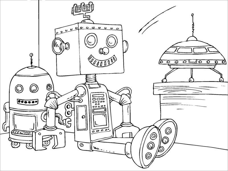 Hình vẽ đen trắng robot cho bé tô màu (4)