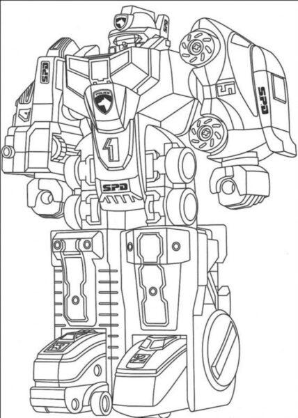 Hình vẽ đen trắng robot cho bé tô màu (5)