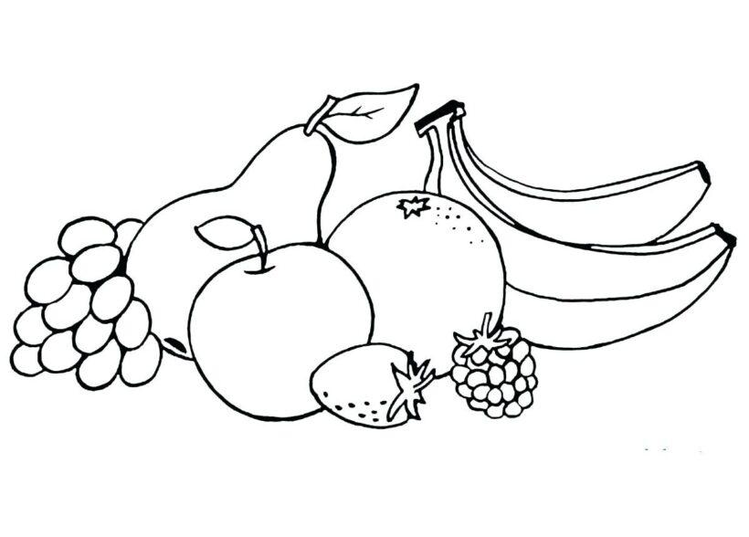 Hình vẽ đen trắng trái cây cho bé tô màu (2)