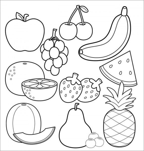 Hình vẽ đen trắng trái cây cho bé tô màu (6)