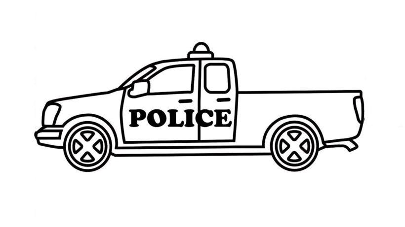 Hình vẽ đen trắng xe cảnh sát cho bé tô màu (1)