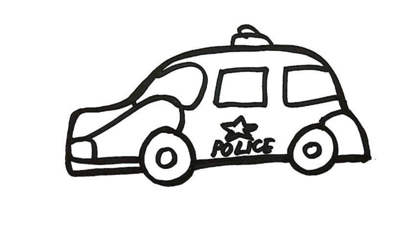 Hình vẽ đen trắng xe cảnh sát cho bé tô màu (2)