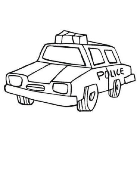 Hình vẽ đen trắng xe cảnh sát cho bé tô màu (3)