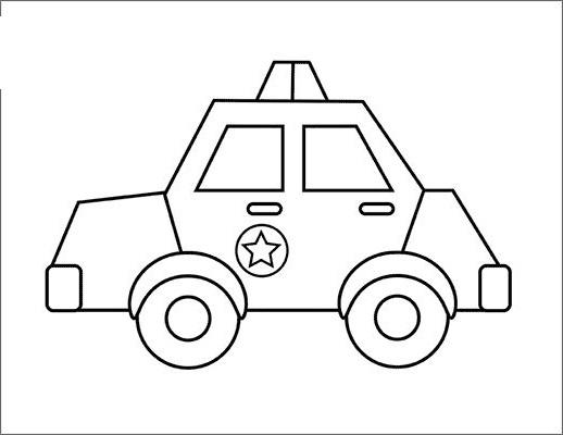 Hình vẽ đen trắng xe cảnh sát cho bé tô màu (4)