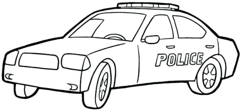 Hình vẽ đen trắng xe cảnh sát cho bé tô màu (5)