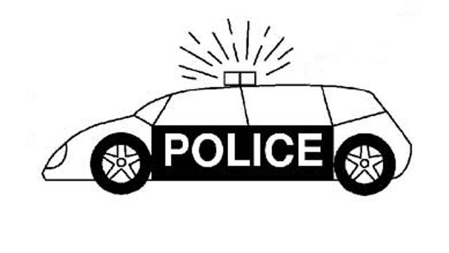 Hình vẽ đen trắng xe cảnh sát cho bé tô màu (6)