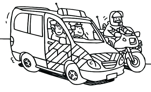 Hình vẽ đen trắng xe cảnh sát cho bé tô màu (7)