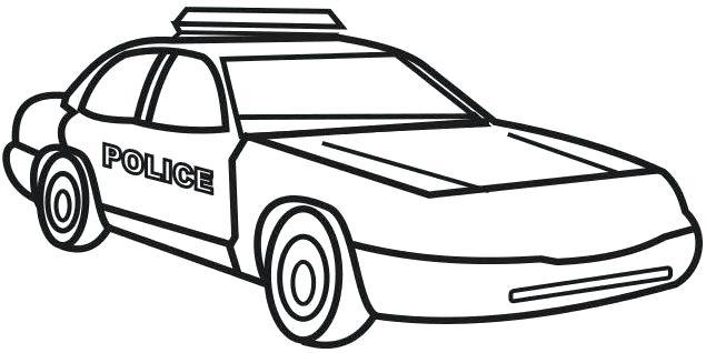 Hình vẽ đen trắng xe cảnh sát cho bé tô màu (8)