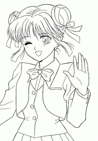 Hình vẽ tô màu Sakura cho bé tập tô (2)