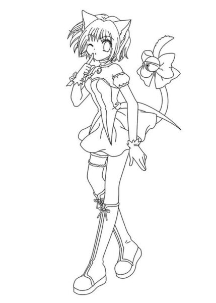 Hình vẽ tô màu Sakura cho bé tập tô (3)