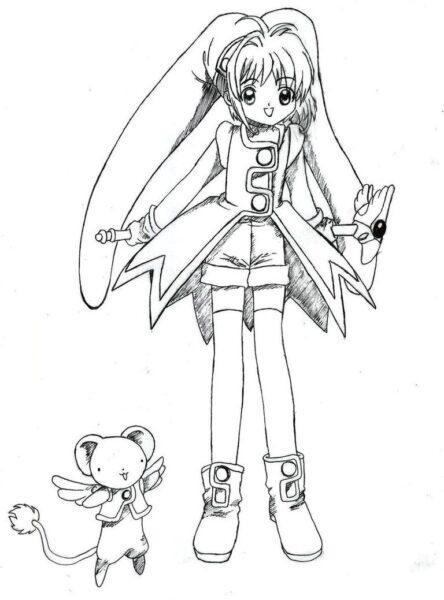 Hình vẽ tô màu Sakura cho bé tập tô (7)