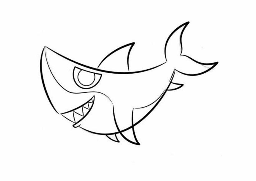 Những tranh tô màu cá mập dễ thương cho bé tập tô (4)