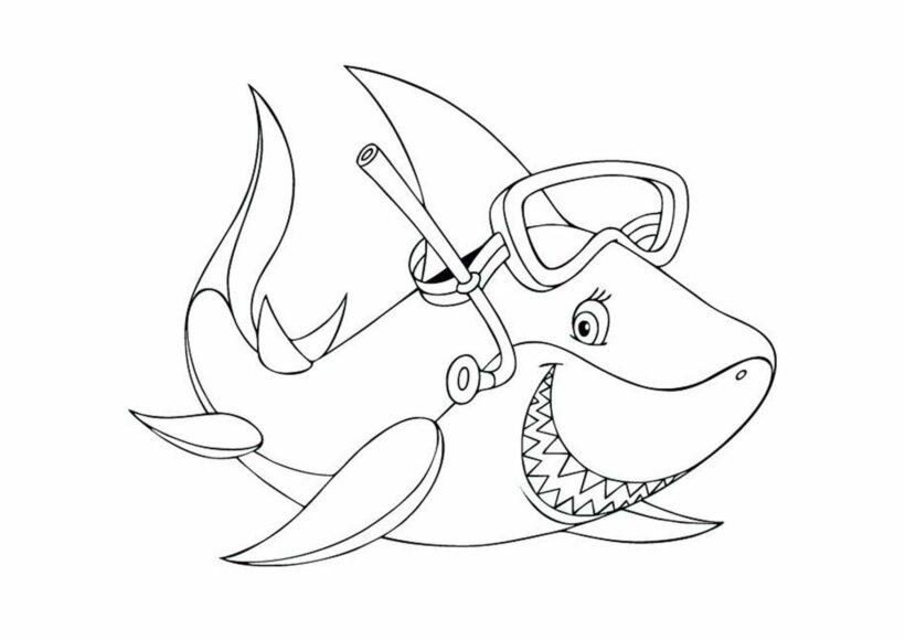 Những tranh tô màu cá mập dễ thương cho bé tập tô (7)