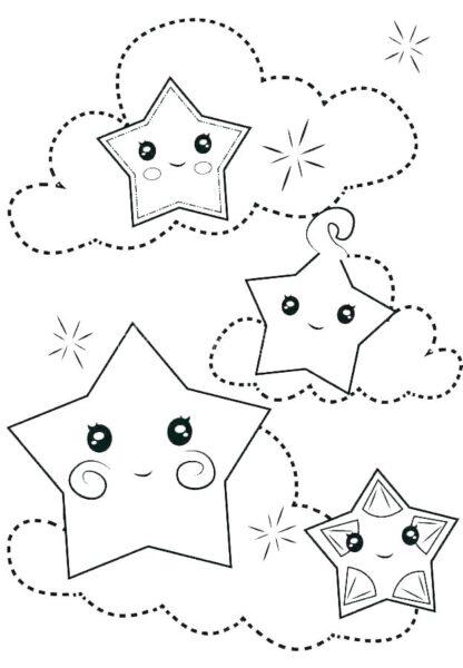 Những tranh tô màu ngôi sao cho bé tập tô (7)