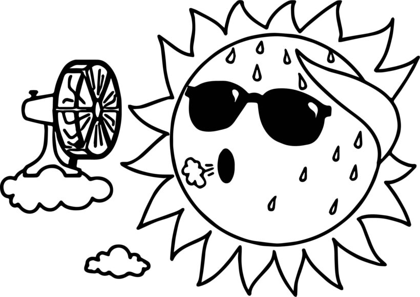 summer coloring pages with sun for kids Awesome Too Hot Summer Sun Coloring Page